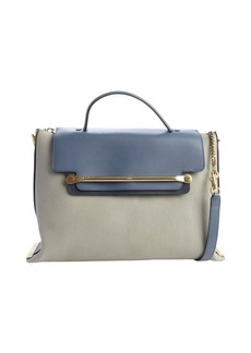Chloe marshmallow grey leather 'Clare' flap front convertible tote bag