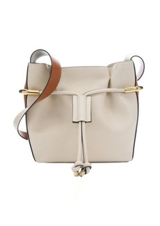 Chloe milk white and orange leather 'Emma' drawstring shoulder bag