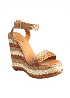 Chloe natural striped raffia wedge sandals