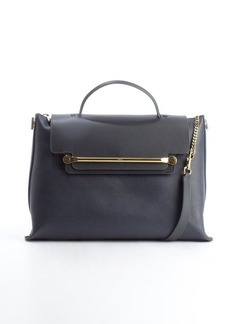 Chloe navy and black leather 'Clare' flap front convertible tote bag