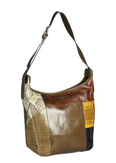 Chloe olive leather and snakeskin colorblock shoulder bag
