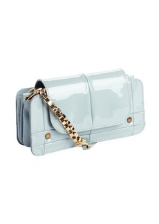 Chloe pale cadet blue quilted patent leather gold accent strap shoulder bag
