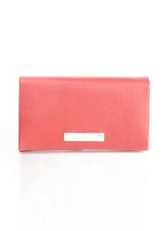 Chloe red leather logo plaque foldover wallet