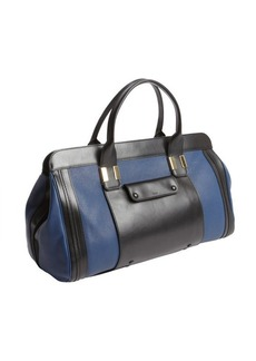 Chloe royal navy and black leather colorblock satchel