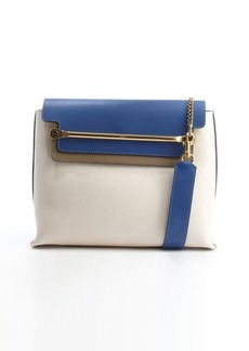 Chloe sail white and blue colorblock leather small 'Clare' shoulder bag