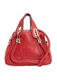 Chloe scarlet red leather 'Paraty' small convertible top handle bag