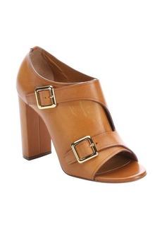 Chloe tan leather buckle detail peep-toe ankle booties