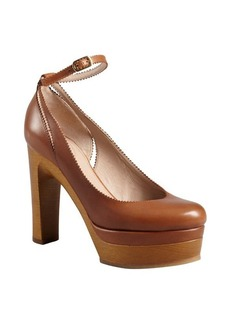 Chloe tan leather pinked trim ankle strap wooden platform pumps
