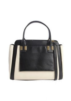 Chloe taupe and black colorblock leather convertible tote