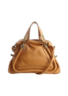 Chloe teak brown leather 'Paraty' convertible satchel
