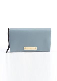 Chloe teal leather logo plaque foldover wallet