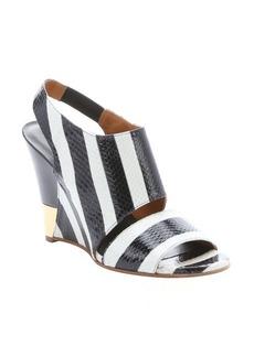 Chloe white and black striped snakeskin slingback wedge sandals