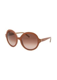 Chloe Women's Round Apricot & Beige Sunglasses