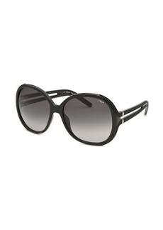 Chloe Women's Round Black Sunglasses