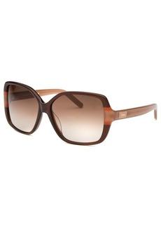 Chloe Women's Square Brown and Caramel Sunglasses