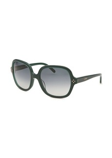Chloe Women's Square Green Sunglasses Green Lens