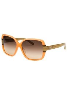 Chloe Women's Square Orange and Khaki Sunglasses