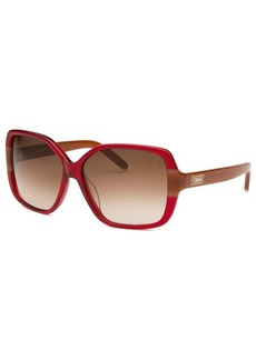 Chloe Women's Square Red and Caramel Sunglasses