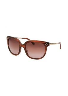 Chloe Women's Square Striped Brown Sunglasses