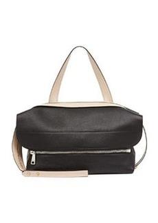 Dalston Leather Shoulder Bag, Black/Beige   Dalston Leather Shoulder Bag, Black/Beige