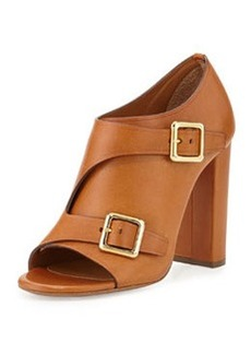 Double Monk Strap Leather Bootie, Brown   Double Monk Strap Leather Bootie, Brown