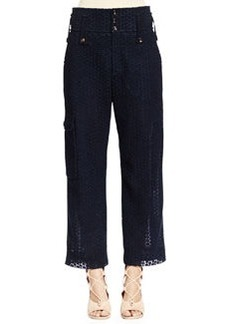 Eyelet Guipure Lace Wide-Leg Pants, Deep Navy   Eyelet Guipure Lace Wide-Leg Pants, Deep Navy