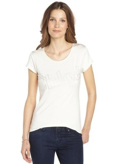 ivory stretch cotton scoop neck 'Chloe' t-shirt