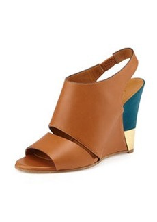 Leather Slingback Wedge, Brown/Turquoise   Leather Slingback Wedge, Brown/Turquoise