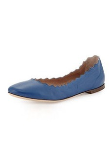 Scalloped Leather Ballerina Flat, Blue   Scalloped Leather Ballerina Flat, Blue
