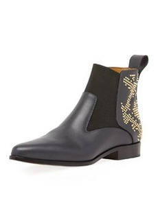 Studded Leather Chelsea Boot, Black   Studded Leather Chelsea Boot, Black