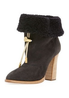 Suede Bolo-Tie Fur-Cuff Ankle Boot, Charcoal Gray   Suede Bolo-Tie Fur-Cuff Ankle Boot, Charcoal Gray