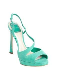 Christian Dior aqua suede peep toe singleback pumps