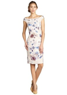 Christian Dior beige and blue floral print silk off shoulder dress