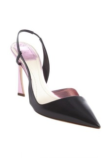 Christian Dior black and pink leather slingback pumps