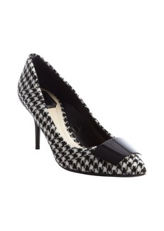 Christian Dior black and white textile pointed toe pumps