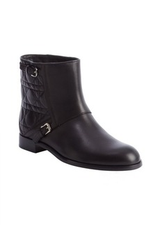 Christian Dior black cannage leather dual bucklestrap boots