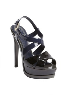 Christian Dior black colorblock patent leather peep toe platform sandals