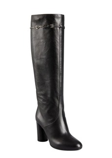 Christian Dior black grained leather chain strapped boots