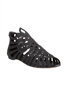 Christian Dior black leather 'Alhambra' peep toe cage sandals