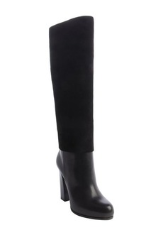 Christian Dior black leather and suede block heel boots