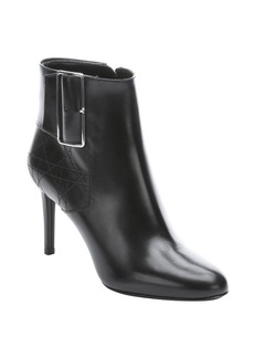 Christian Dior black leather buckle detail ankle booties