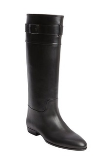 Christian Dior black leather buckle detail boots