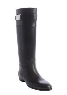 Christian Dior black leather buckle detail riding boots