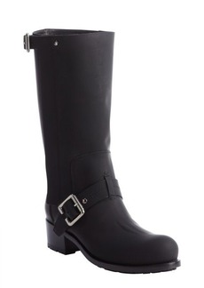 Christian Dior black leather bucklestap boots
