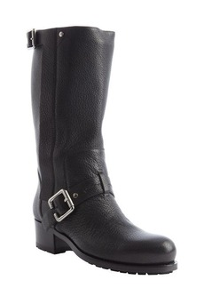 Christian Dior black leather bucklestrap detail boots