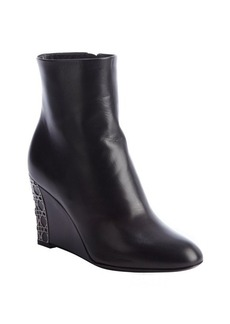 Christian Dior black leather 'Cannage Day Wedge' ankle boots