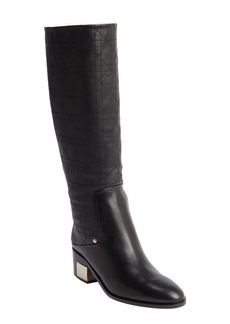 Christian Dior black leather cannage detail boots