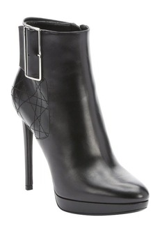 Christian Dior black leather cannage stitched stiletto ankle booties