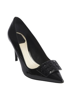 Christian Dior black leather cannge detail pointed toe pumps