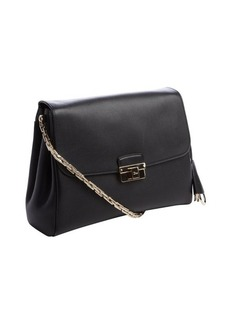 Christian Dior black leather front flap triple pouch shoulder bag